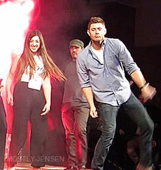 Jensen's dancing is perfection. And I love Richard's perfectly balanced hop up in the background