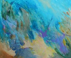 abstract acrylic finishes | Reserved Abstract Painting Acrylic Blue Purple Canvas Expressionist ...
