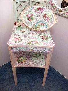 Stunning Shabby Pink China Mosaic Table by Grindstone Mountain Mosaics $385.00