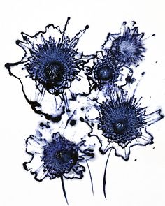 """""""Original Art Painting Abstract Flower Series Indigo Blue Modern Floral Fine Art"""" - Acrylic On Cotton Ragg Paper, in Floral and Flower Paintings by Catherine Jeltes.  8x10 inches on cotton ragg paper.  $75.00 original art."""