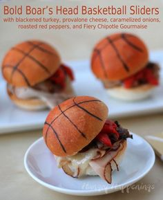 Hungry Happenings: Basketball Sliders.  Click through to see how to turn frozen dinner rolls into basketballs for your March Madness parties.