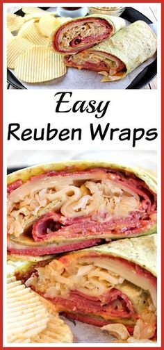 Reuben Wraps-They're a great way to use up any corned beef you have left over from St. These easy Reuben wraps are a wonderful lunch or quick dinner recipe, and have all the flavor of a delicious Reuben sandwich! Reuben Sandwich, Corned Beef Sandwich, Soup And Sandwich, Quesadillas, Cooking Recipes, Healthy Recipes, Healthy Meals, Tofu Recipes, Eat Healthy