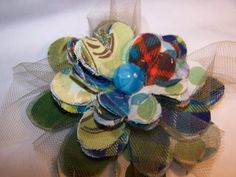 Flower Big 4 inch FLOWER Green Olive Blues   by TheQueensDaughters, $10.00