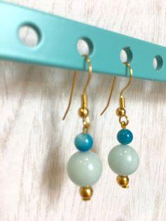 handmade beaded earrings small earrings light blue by MioCapriccio