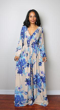 Floral Dress Long Sleeve Dress : Classy Evening Dress by Nuichan