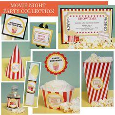 Printable Movie Night Birthday Party Pack by PrintablePartyPacks