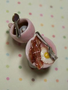 Miniature food fun - breakfast earrings