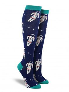cool women's astronaut space novelty socks by socksmith