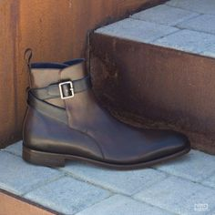 Custom Made Jodhpur Boot in Navy Blue and Dark Brown Painted Calf Leather