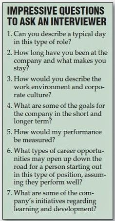 Great Questions to ask the interviewer during a job interview.