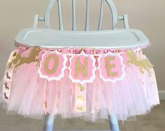 First Birthday High Chair Banner for Unicorn Themed Party, Pink and Gold Tulle Banner, Party Decoration for Girls, Photoshoot Banner Glitter First Birthday, First Birthday Photos, Baptism Decorations, Birthday Decorations, Boy Birthday Parties, Girl Birthday, Birthday Ideas, Hawiian Party, Hot Wheels Party