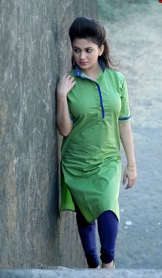 Buy Parrot Green Cotton Unstitched Designer Kurti online in India at best price. Beautiful Girl In India, Beautiful Girl Photo, Beautiful Indian Actress, Beautiful Asian Girls, Women's Ethnic Fashion, Dehati Girl Photo, Indian Girl Bikini, Desi Models, Indian Girls Images