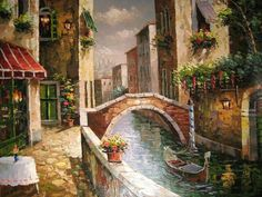 Venice Canal - Counted cross stitch pattern in PDF format by Maxispatterns on…