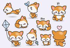 Premium Vector Clipart Kawaii Foxes Cute by LookLookPrettyPaper