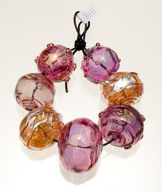 Juicy gold fumed pinks & amber silver hollow bead set. Renee Wiggins Design 2014