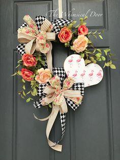 Spring wreath Mother's Day wreath flamingo wreath heart