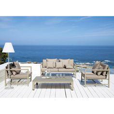 2 seater aluminium garden bench seat in taupe Outdoor Rooms, Outdoor Sofa, Outdoor Living, Outdoor Furniture Sets, Outdoor Decor, Casa Art Deco, Terrasse Design, Old Stone Houses, Lounge Sofa