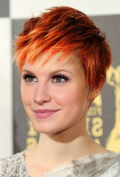 Short hair, pixie cut with flaming red hair! Oh to be a redhead.