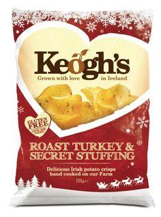 Keogh's make wonderful crisps and for Christmas they have released Roast Turkey & Secret Stuffing flavour Food Packaging, Packaging Design, Branding Design, All American Food, Coconut Milk Chocolate, Irish Potatoes, Potato Crisps, Christmas Snacks, Irish Recipes