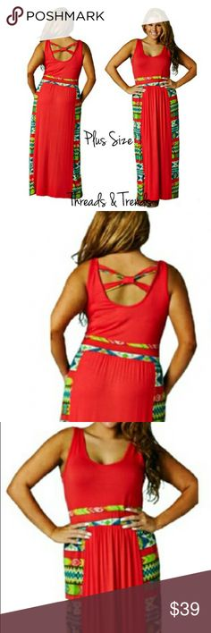 """PLUS SIZE! Coral Maxi Dress Plus size coral sundress with Aztec print color blocking. Featuring criss cross detail on back. Scoop neckline. Made of rayon and spandex. Size large, XL, XXL LENGTH 58""""                                                   Large bust 38"""" to 46""""                                                 XL bust 40"""" to 48""""                                                      XXL 42"""" to 50"""" striped Threads & Trends Dresses Maxi"""
