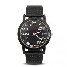 Relógio Geeky Equation - Para quem gosta de perguntas em vez de respostas, descobrir que horas são envolve, no mínimo, operações algébricas comuns.