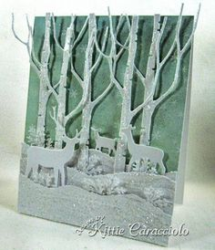 Sparkly Snowy Tall Birch and Deer by kittie747 - Cards and Paper Crafts at Splitcoaststampers