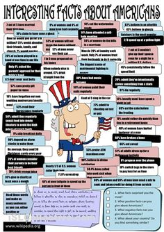 Interesting facts about Americans worksheet - iSLCollective.com - Free ESL worksheets