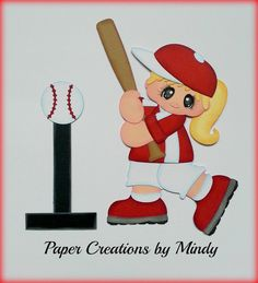Sports Tball girl kids premade paper piecing scrapbooking page album borders