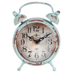Product: ClockConstruction Material: Metal and glassColor: Distressed blueAccommodates: Batteries - not includedDimensions: 6 H x 5 W x 2 D Housewarming Wishes, Blue Clocks, Metal Clock, Clock Wall, Shaby Chic, Vintage Love, Vintage Style, Joss And Main, Decorative Accessories