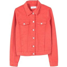 Mango Color denim jacket ($45) ❤ liked on Polyvore featuring outerwear, jackets, red, women, long sleeve jacket, embellished jacket, red cotton jacket, red jacket and tailored jacket