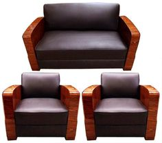 Art Deco Sofa and Chairs Set, France 1900-1950 #7057