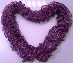 Purple hand-made scarf with 3D effects