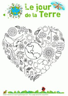 Earth Day Coloring Pages Earth Day Coloring Pages, Colouring Pages, Earth Hour, Earth Day Crafts, Earth Day Activities, Environment Day, French Classroom, Teaching French, Art Day