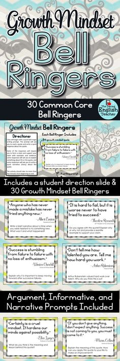 Growth Mindset Bell Ringers Volume 2. This resource contains 30 more common core bell ringers to help establish a growth mindset in your students.