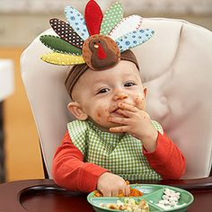 This actually links to ideas for Thanksgiving baby foods for the wee ones, but I'm pinning it because of the super cute turkey headband which I guess comes from Pottery Barn Kids. It looks easy to duplicate. Wish I had more time!