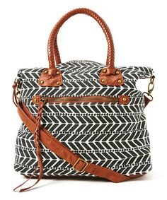 Black & Ivory Herringbone Braid Handle Tote
