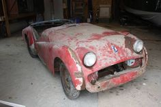 Oh how I long for a Triumph all my own, images of a leather cap and goggles cruising back roads with my elbow propped atop the low slung door line. Vintage Cars For Sale, Triumph Tr3, Back Road, Leather Cap, Roads, Vehicles, Road Routes, Street, Car