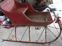 Antique Primitive Vntg Wooden Sliegh Sled Amish Metal Runners Horse Buggy 1800's