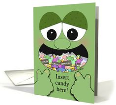 Funny Halloween Greeting-Monster with Mouth Full of Candy card
