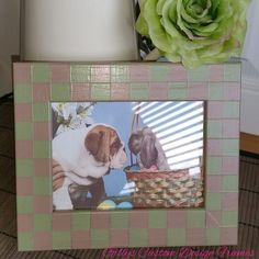 ♥♥ Custom Designed Solid Oak Mint & Chocolate Green Checked Photo Frame ♥♥
