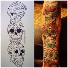 1337tattoos: Sugar skulls, with a Three wise monkey reference submitted by http://pnzzlekid.tumblr.com