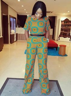 Sandals Summer - Ankara Jumpsuit - There is nothing more comfortable and cool to wear on your feet during the heat season than some flat sandals. African Print Pants, African Print Dresses, African Fashion Dresses, African Dress, Fashion Outfits, Ankara Fashion, African Prints, Nigerian Fashion, Ghanaian Fashion