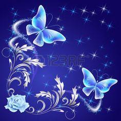 feu d artifice FLEUR Papillons qui volent transparentes avec ornement  argenté, rose et brillant