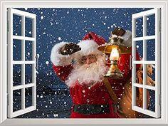 Wall26  High Quality Removable Wall Sticker  Wall Mural  Santa Claus Carrying Gifts outside of Window on Christmas Eve  Creative Window View Home Decor  Wall Decor  36x48 ** Check out this great product.