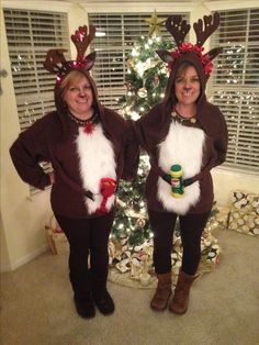 Hard not to have a good time dressed up as Comet and Blitzen! Christmas Dress Up, Fur Coat, Holiday Decor, Dresses, Fashion, Christmas Costumes, Christmas Clothes, Vestidos, Moda