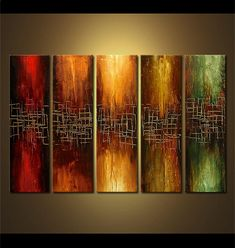 Original abstract art paintings by Osnat - large abstract painting 60x36""