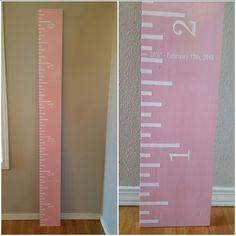 Growth Ruler | Board: 1 x 8 x 6ft long, Paint: Rust-oleum Gloss Candy Pink, White Acrylic