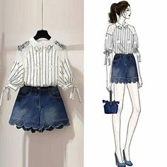 love the scalloped shorts! Kpop Fashion Outfits, Girls Fashion Clothes, Mode Outfits, Stylish Outfits, Korean Girl Fashion, Korean Fashion Trends, Cute Fashion, Fashion Fashion, Korea Fashion