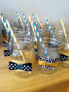 Cute drink deco with bow ties. I have mason jars I could borrow that I already have from the wedding. It'd just be finding cute cheap ribbon and straws. Hobby lobby has lots of sales.