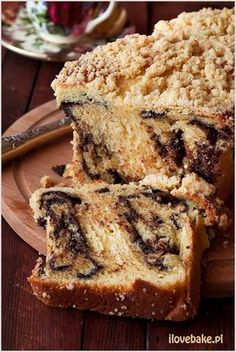 Yeast cake with chocolate and crumble - recipe - I Love Bake Polish Recipes, Polish Food, Sweet Bread, Nutella, Banana Bread, Recipies, Muffin, Cooking Recipes, Chocolate